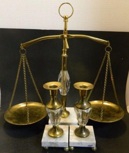 Vintage Footed Glass, Marble & Brass Scale & Candlesticks Set Excellent Cond.