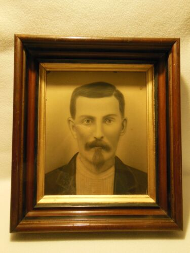 1860/1880  Portrait Of Man Black & White Chalk? Pencil? Image Hand Finished