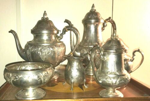 Frank M Whiting 840 HAND CHASED sterling silver vntg Set of 6 Tea/Coffee set