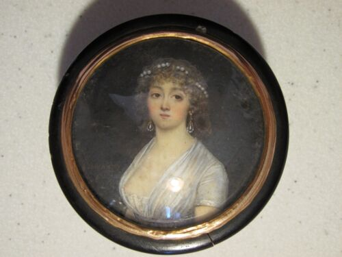 22K+ GOLD TRIM - ETIENNE BOUCHARDY (1797-1849) Antique Portrait Miniature French <br/> Fine early 19th Miniature Painting Mounted on Horn Box