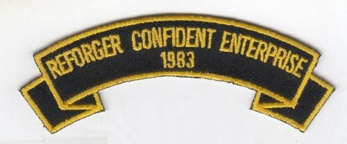 """REFORGER CONFIDENT ENTERPRISE 1983 4""""  embroidered scroll tab patchArmy - 66529"""