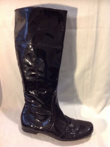Dei Colli Black Knee High Leather Boots Size 36