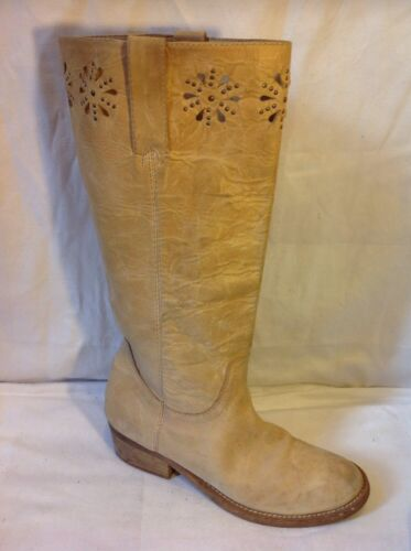Next Beige Knee High Leather Boots Size 6.5