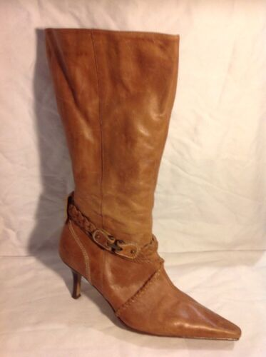 Essence Brown Mid Calf Leather Boots Size 7