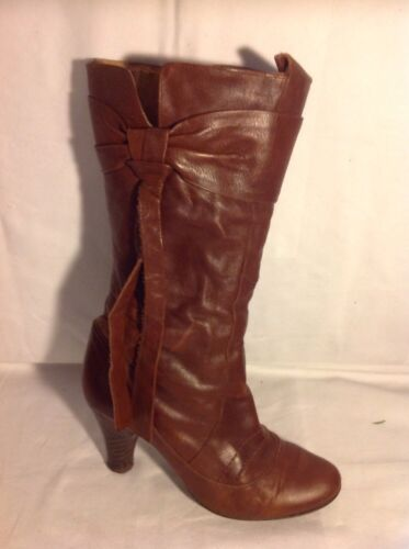 Studio Brown Mid Calf Leather Boots Size 40