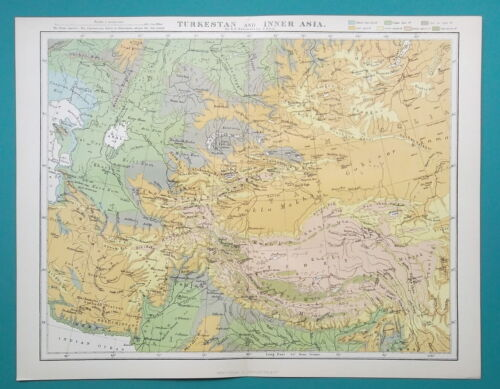 "CENTRAL ASIA Turkmenistan etc - 1884 PHYSICAL MAP 10.5 x 13.5"" (27 x 34 cm)"
