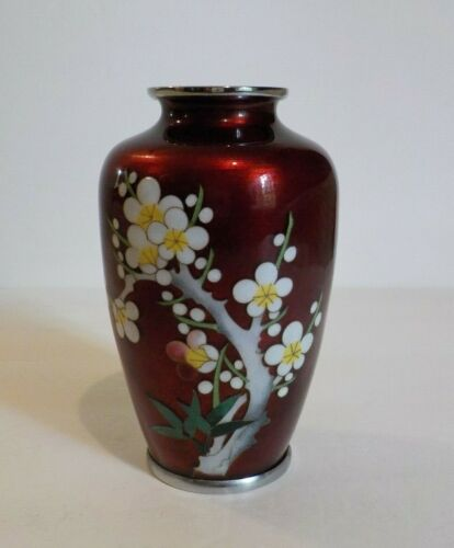 """Japanese Ginbari Cloisonne on Silver 4.75"""" Vase, c. early 1900's"""