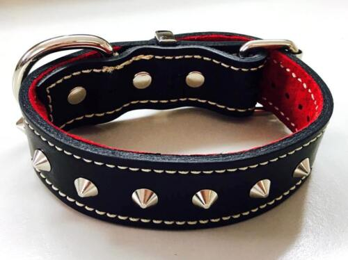 Black Leather & Red Suede Collar with Cone Studs 32mm Wide Medium