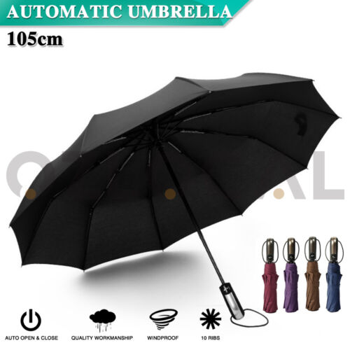 Automatic Umbrella Auto Open Close Compact Folding Anti UV Rain Windproof 10Ribs