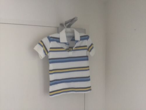 Top Polo White With 3 Blues & Yellow Stripes 100% Cotton 6/7 Tommy Hilfiger