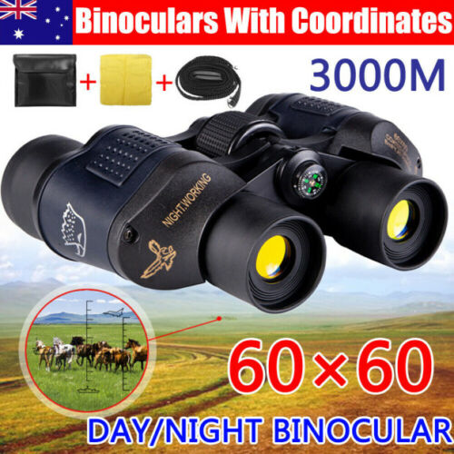 60X60 Marine HD Night Vision Binoculars Wide Field 8.2 Hunt Telescope Coordinate <br/> Very low price for new store# Limited time# AU POST