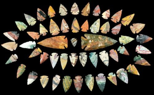 *** 52 pc lot Flint Arrowhead OH Collection Project Spear Points Knife Blade ***