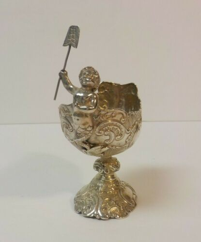 Unusual Continental .800 Silver Embossed Pedestal Salt Cellar, Cupid Mermaid