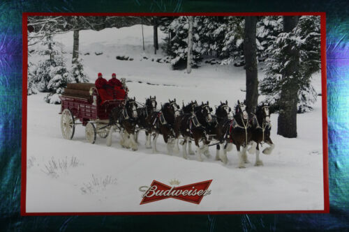 Budweiser Clydesdale Horses Dog Red Wagon Winter Picture Poster 24X36  NEW  BUDW