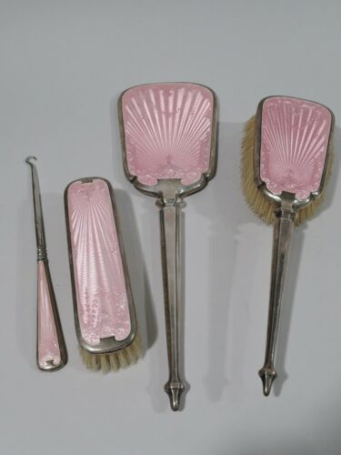 George V Vanity Set - English Birmingham Sterling & Pink Enamel   1928