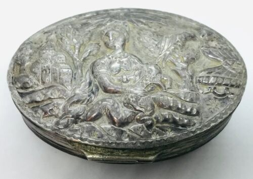 Antique Unusual Sterling Silver 18th Century Double Sided Hand Made Ship Box