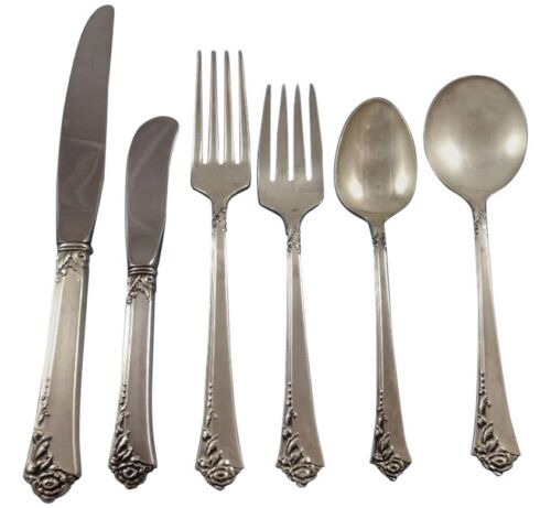 Damask Rose by Oneida Sterling Silver Flatware Set Service 57 Pieces Place Size