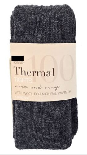 Ex M&S Womens Ladies 100 Denier Wool Blend Thermal Ribbed Thick Soft Tights
