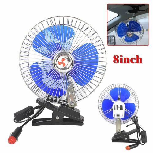 12V Oscillating Car Truck Cooler Fan With Clip Outdoor Travel Camping AU