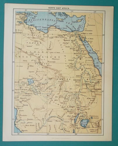 1892 LITHOGRAPH MAP - NORTH EAST AFRICA Egypt Libya Sudan Chad Uganda Cameroon