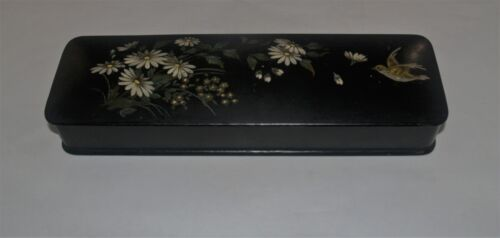 ANTIQUE VICTORIAN BLACK LACQUER LACQUERED DRESSER BOX HAND PAINTED DECORATED