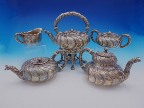 Saint Cloud by Gorham Sterling Silver Tea Set 5pc #1810 w/ Swirled Body (#3435)