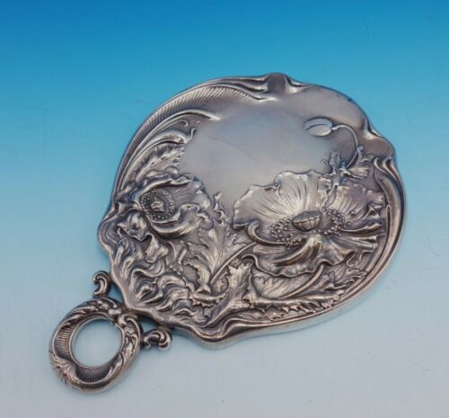 Flora by Shiebler Sterling Silver Hand Mirror with Poppies #2888 (#3437)