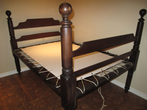 Custom Made Canvas Sacking Bottom for Rope or Peg Bed - Rope Bed Restoration