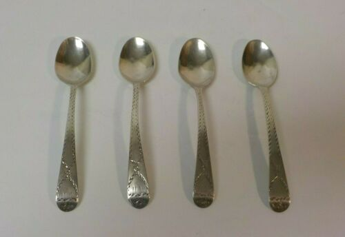 "Set/4 18th C. English Sterling Silver 4.75"" Demitasse / Coffee Spoons"