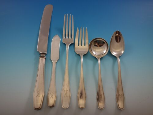 Hampton by Alvin Sterling Silver Flatware Set for 8 Service 54 Pieces K monogram