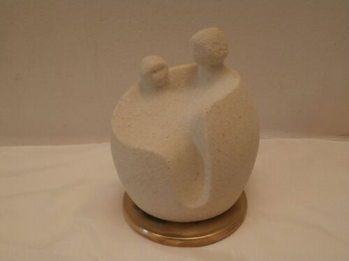 Modern 80's Belgium Marbell Woman Mother & Child Sand Stone on Brass Sculpture