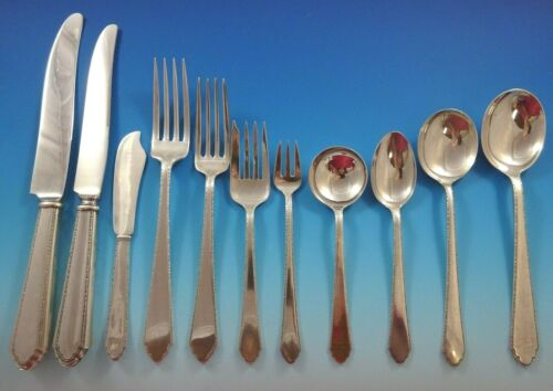 William & Mary by Lunt Sterling Silver Flatware Set 12 Service 140 Pieces Huge