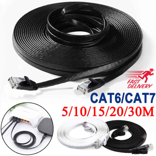 5/10/30M Network Lan CAT6 CAT7 RJ45 Cord Ethernet Flat Shielded Cable Patch Lead