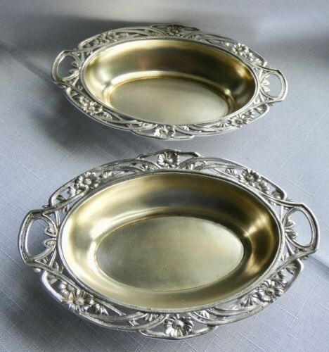Art Nouveau Set of TWO Open Work 800 Silver Candy Dishes from Germany Ornate