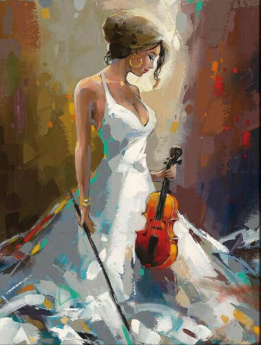 CHENPAT1062 abstract modern girl with a violin handmade oil painting art canvas