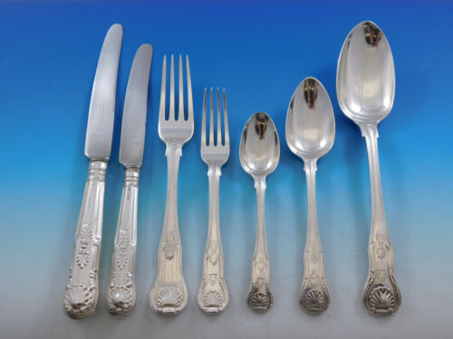 Kings English Sterling Silver Flatware Set for 12 Service 85 Pieces Dinner