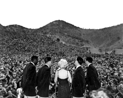 New 11x14 Korean War Photo: Marilyn Monroe Sings for the First Marine Division