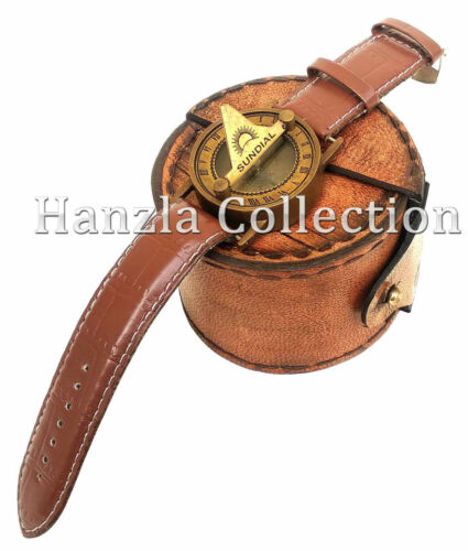 Nautical Brass Steampunk Sundial Compass Wrist Watch With Leather Case