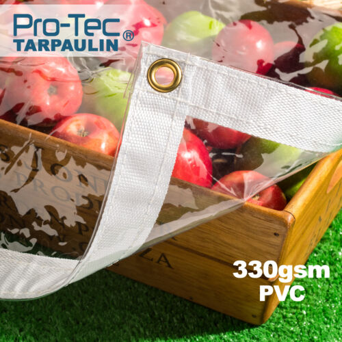 330gsm Heavy Duty Glass Clear Waterproof PVC Tarpaulin Animal Stall Cover Sheet  <br/> CHECK OUT! OUR COMPLETE RANGE OF SIZE OPTIONS & COLOURS