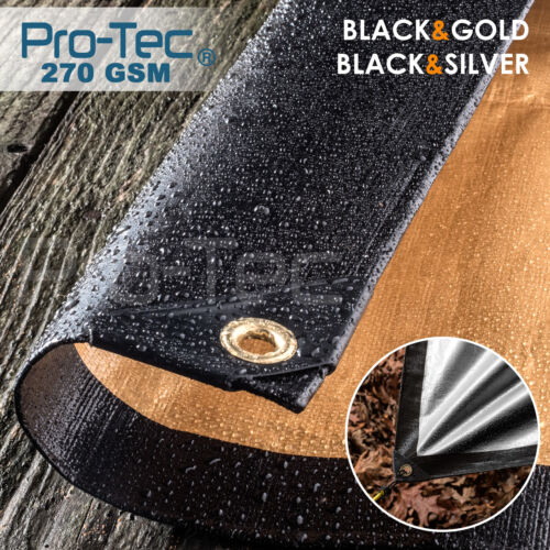270GSM Tarpaulin Extra Heavy Duty Builders Waterproof Ground Sheet Cover Black  <br/> CHECK OUT! OUR COMPLETE RANGE OF SIZE OPTIONS & COLOURS