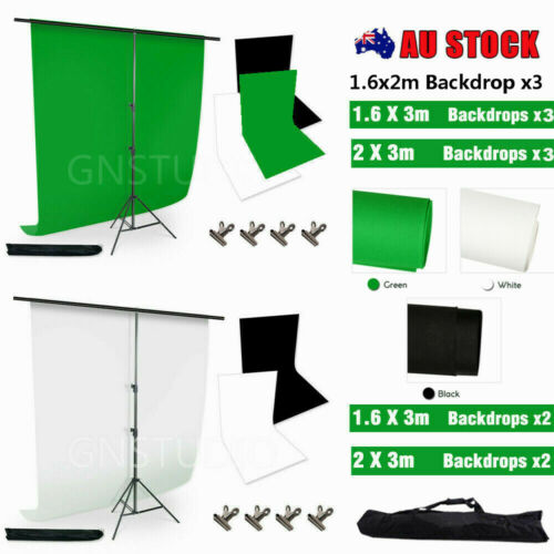 Photography Studio Backdrop Stand Kit Green Black White Background Screens-NEWLY