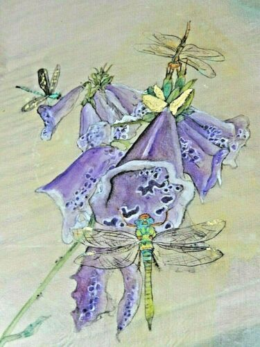 Debbi Chan Watercolor on Silk Dragonfly Embroidered on Silk  unframed