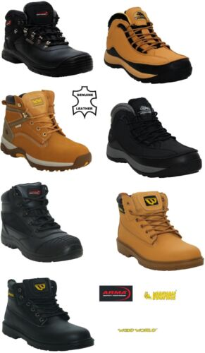 MENS STEEL TOE CAP LEATHER TRAINERS HIKER LACE UP WORK SAFETY BOOTS SHOES UK7-12