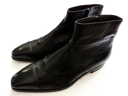 $1350 BRIONI Black Leather Zip Up Ankle Boots Size 10 US 43 Euro 9 UK