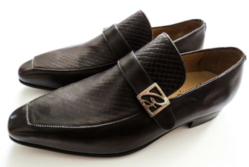 """$1295 BRIONI Brown Leather """"B"""" Logo Loafers Shoes Size 7.5 US 40.5 Euro 6.5 UK"""