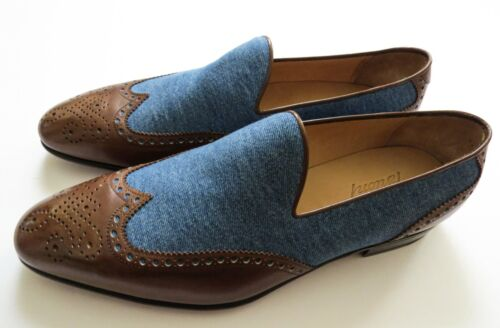 $1225 BRIONI Brogue Two Tone Denim Leather Loafers Shoes Size 9 US 42 Euro 8 UK