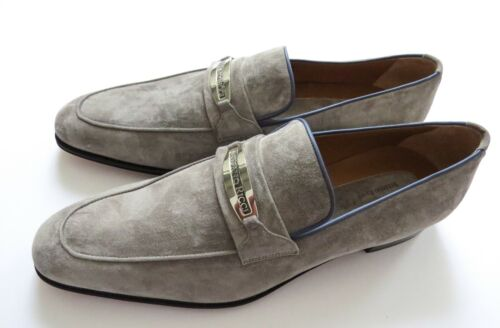 STEFANO RICCI Gray Suede with Blue Piping Shoes Loafers 9.5 US 42.5 Euro 8.5 UK