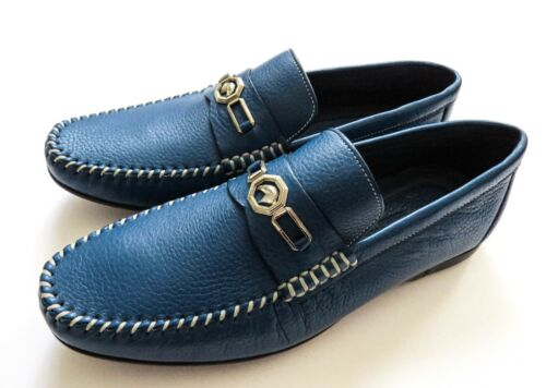 STEFANO RICCI Blue Grain Leather with Silver Eagle Shoes Size 10 US 43 Euro 9 UK
