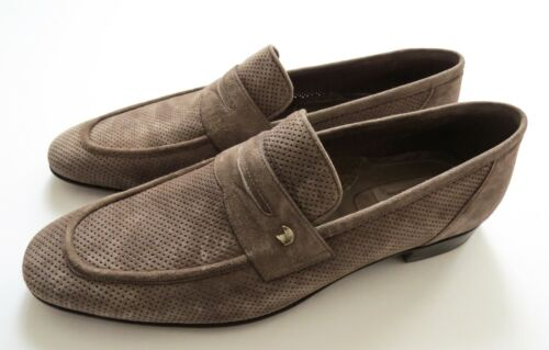 STEFANO RICCI Light Brown Perforated Suede Silver Eagle Shoes 11 US 44 EU 10 UK