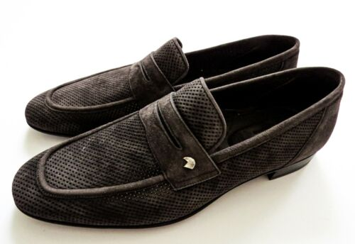 STEFANO RICCI Brown Perforated Suede with Silver Eagle Shoes 9 US 42 Euro 8 UK